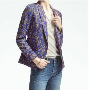 Banana Republic 1 Button Long Paisley Print Blazer